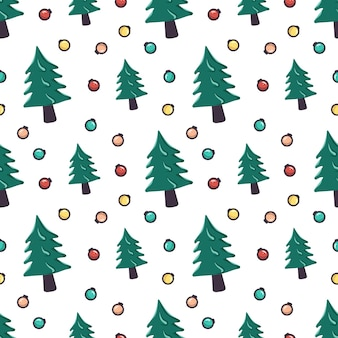 Naadloos patroon met kerstboom en slingerballen. feestelijke print voor nieuwjaars- en wintervakanties, textiel, inpakpapier en design