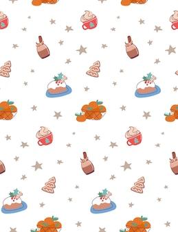 Naadloos patroon met kerstdrankjes en -eten