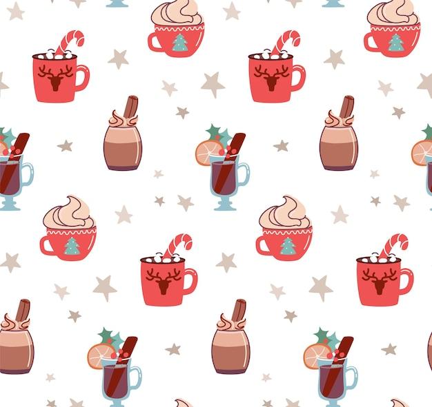 Naadloos patroon met kerstdrankjes