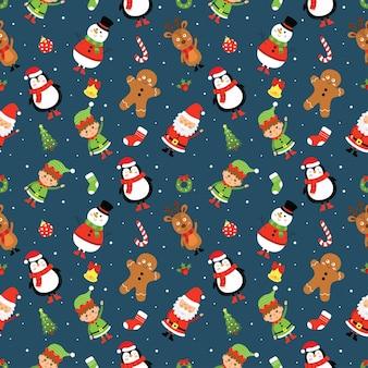 Naadloos patroon met kerstkarakters op blauwe achtergrond