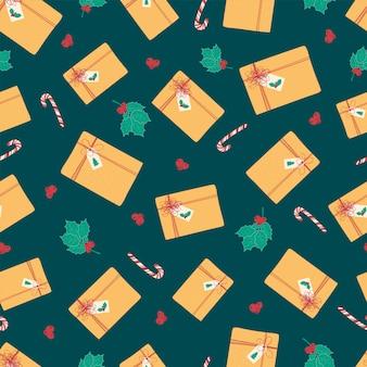 Naadloos patroon met kerstmis en nieuwjaargiften.