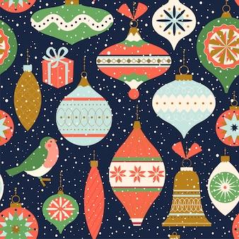 Naadloos patroon met kerstmisdecor.