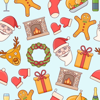 Naadloos patroon met kerstmiselementen