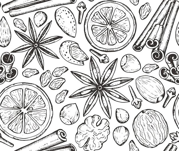 Naadloos patroon met kerstmiskruiden en citrusvruchten