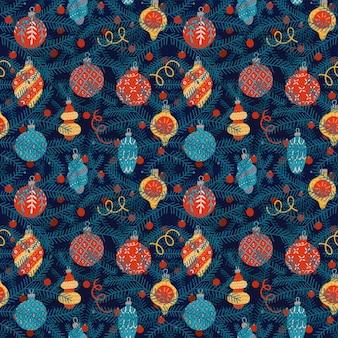 Naadloos patroon met kerstspeelgoed dat op dennenboomtakken hangt donkerblauwe achtergrond voor nieuwjaar ...