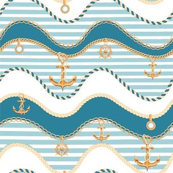 Naadloos patroon met kettingen en anker