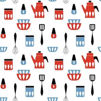 Naadloos patroon met keukenwerktuig.