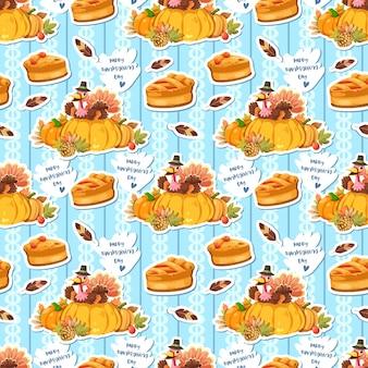 Naadloos patroon met kippenveren, pompoen en kalkoen die de pastei houden