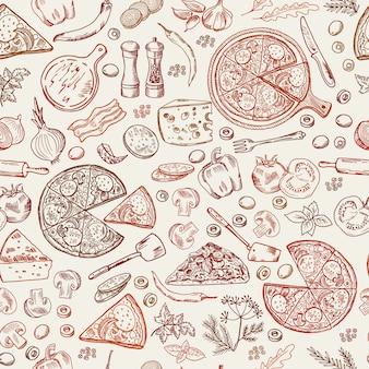 Naadloos patroon met klassiek italiaans voedsel.