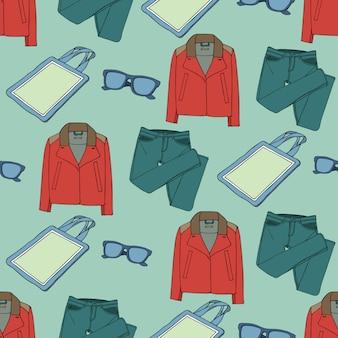 Naadloos patroon met kleding en accessoires