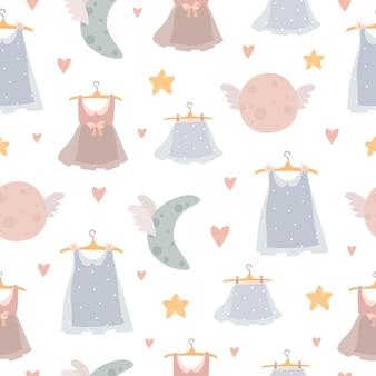 Naadloos patroon met kleding, manen en harten