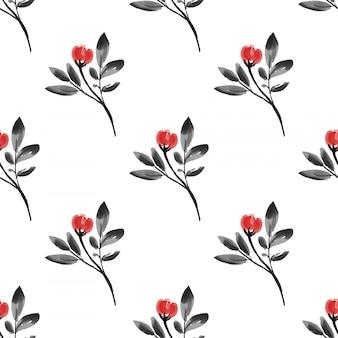 Naadloos patroon met kleine bloemtakken met bladeren in aquarel stijl.