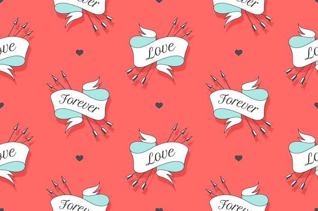 Naadloos patroon met kleine harten, linten en pijlen