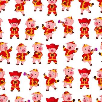 Naadloos patroon met kleine roze varkens
