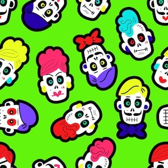 Naadloos patroon met kleurrijk grappig schedelspatroon met suikerschedels