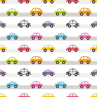 Naadloos patroon met kleurrijke auto's op de weg
