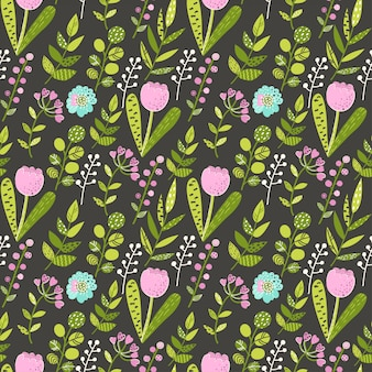 Naadloos patroon met kleurrijke bloemen en bladeren