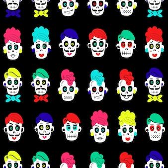 Naadloos patroon met kleurrijke grappige schedels op een zwarte vectorillustratie als achtergrond