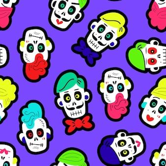 Naadloos patroon met kleurrijke grappige schedels
