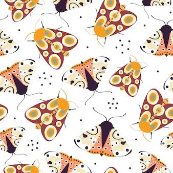 Naadloos patroon met kleurrijke grappige vlinder