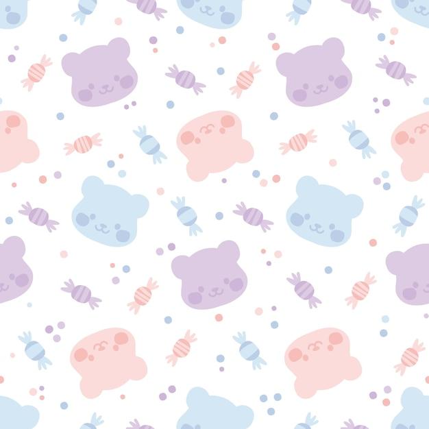 Naadloos patroon met kleurrijke gummyberen en stippen