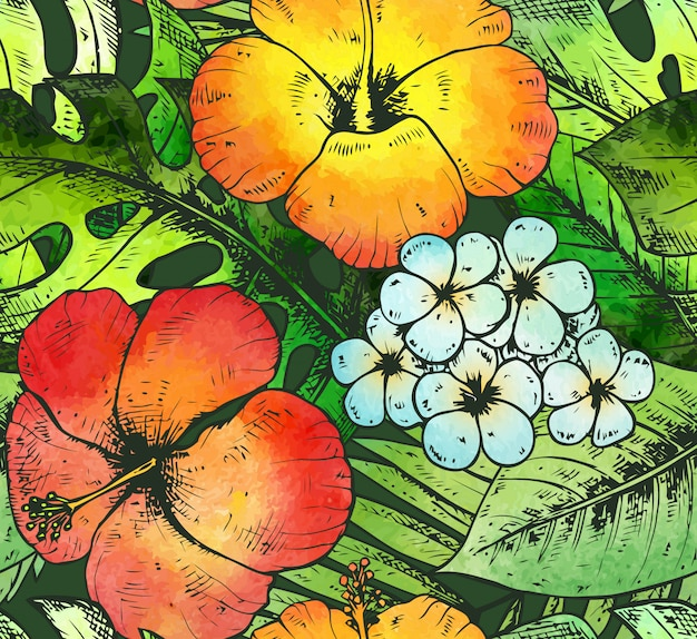 Naadloos patroon met kleurrijke hand getrokken tropische planten en fl