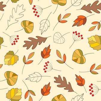 Naadloos patroon met kleurrijke herfstbladeren in leuke cartoonstijl