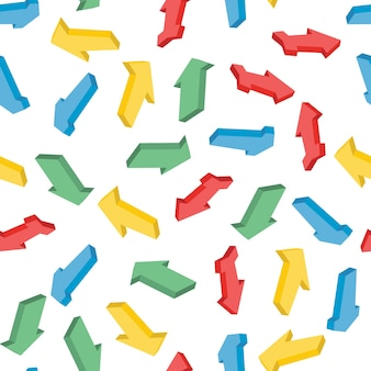 Naadloos patroon met kleurrijke isometrische pijlen. vector illustratie