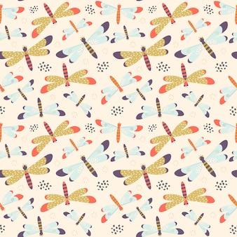 Naadloos patroon met kleurrijke libellen