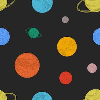 Naadloos patroon met kleurrijke planeten en andere ruimtevoorwerpen