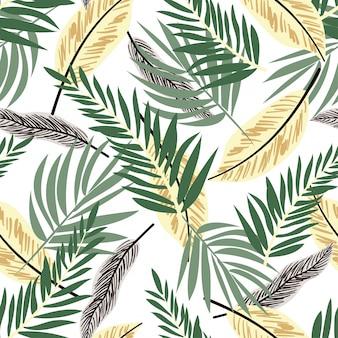 Naadloos patroon met kleurrijke tropische installaties