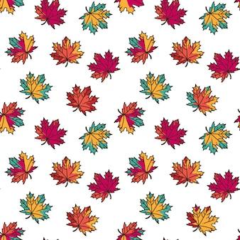 Naadloos patroon met kleurrijke vlakke esdoornbladeren