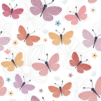 Naadloos patroon met kleurrijke vlinders