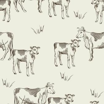 Naadloos patroon met koeien en kalveren