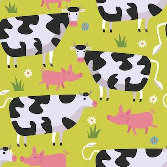 Naadloos patroon met koeien, varkens en bloemen.