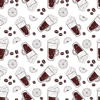 Naadloos patroon met koffie en sommige elementen.