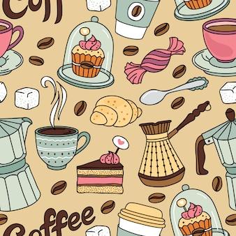 Naadloos patroon met koffie en zoet. koffie achtergrond