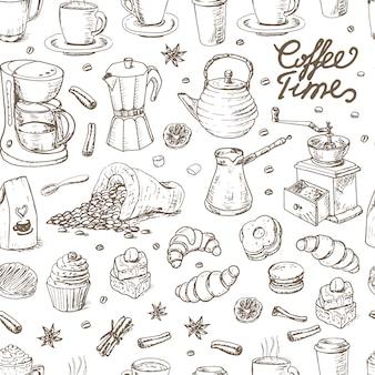 Naadloos patroon met koffieelementen