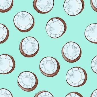Naadloos patroon met kokosnoten