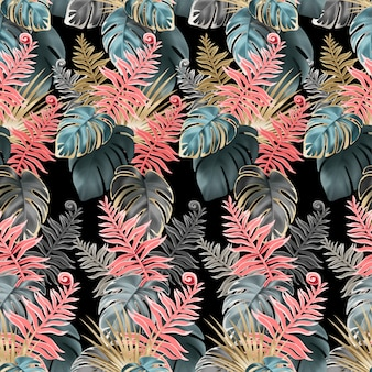 Naadloos patroon met koraal en donkere bladeren.