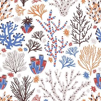 Naadloos patroon met koraal en zeewier op witte achtergrond.