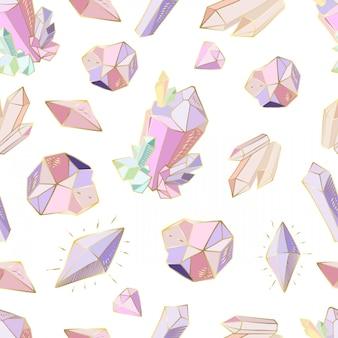 Naadloos patroon met kristallen, edelstenen