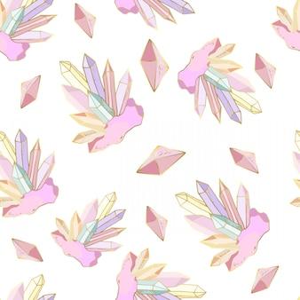 Naadloos patroon met kristallen en edelstenen, juwelenstenen
