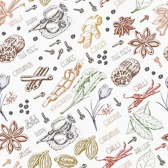 Naadloos patroon met kruiden
