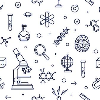 Naadloos patroon met laboratoriumapparatuur, attributen van de wetenschap, wetenschappelijk experiment, onderzoek getekend met contourlijnen op witte achtergrond. monochrome illustratie in lijn kunststijl.
