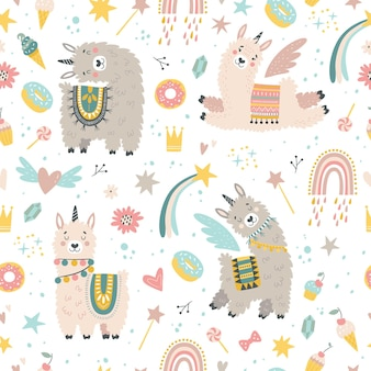 Naadloos patroon met lama, cactus, regenboog en met de hand getekende elementen.