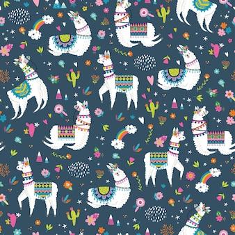 Naadloos patroon met lama, cactus, regenboog en met de hand getekende elementen