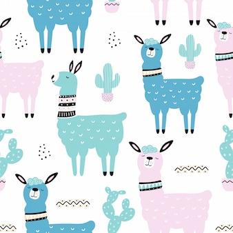 Naadloos patroon met lama, cactus.