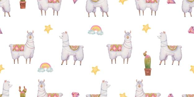 Naadloos patroon met lama's en alpaca's