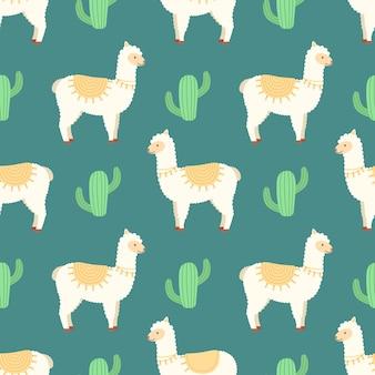 Naadloos patroon met lama's en cactussen, vectorillustratie